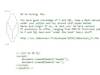 Illustration de l'article Leboncoin recrute via le code source de ses pages