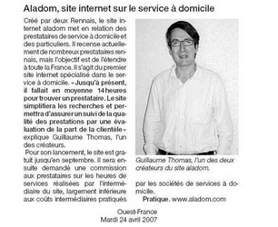 Illustration de l'article [Ouest-France] Aladom, site internet sur le service à domicile