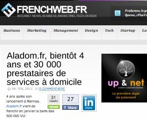 Illustration de l'article [FrenchWeb.fr] Aladom.fr, bientôt 4 ans et 30000 prestataires de services à domicile