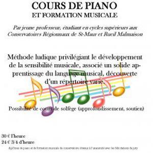 Cours de piano et formation musicale à domicile