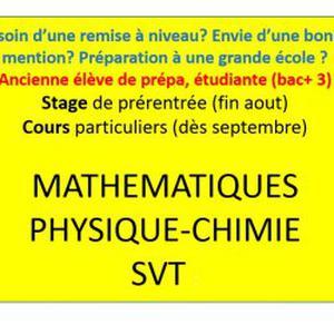 Cours de maths, physique-chimie et/ou SVT par ex-élève de prépa